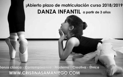 Abierto el plazo de matriculación para danza infantil curso 2018/2019.